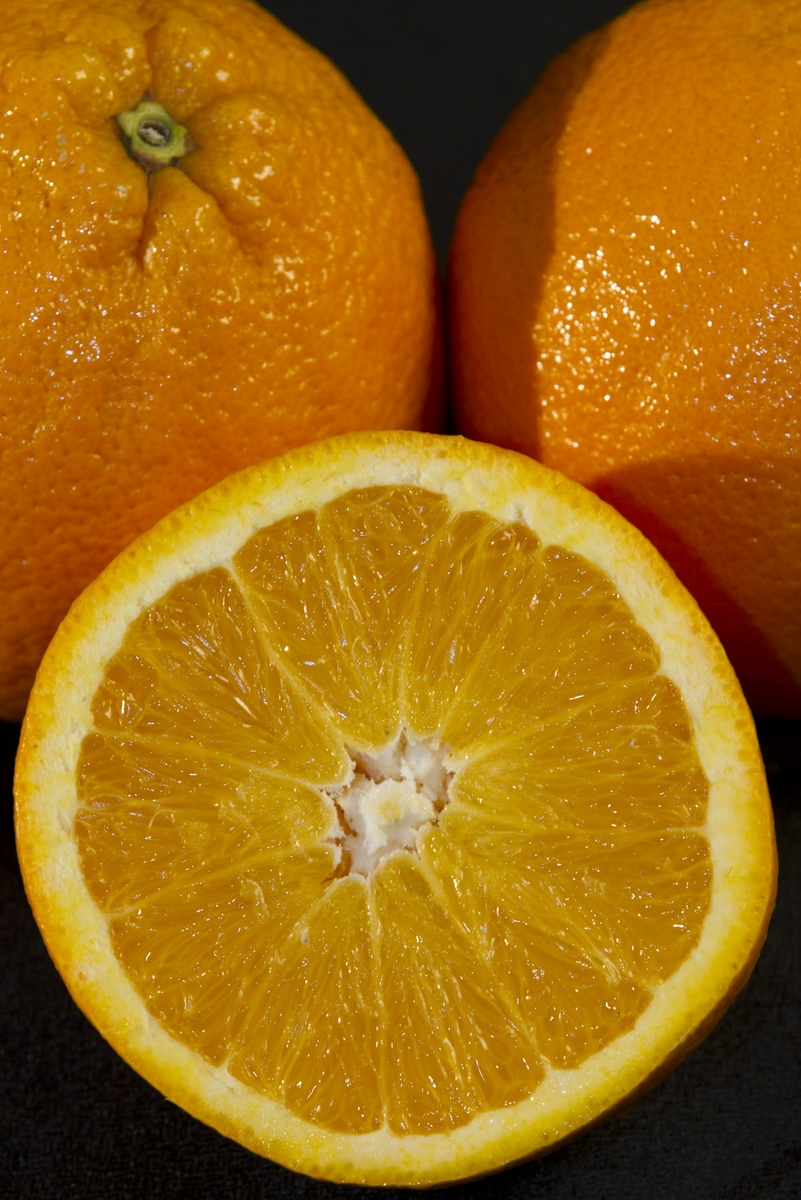 Oranges - close up on half with whole