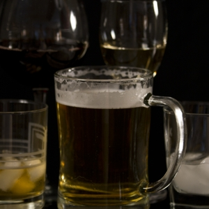Alcohol - Beer, Wine, & Liquor in Glasses close up