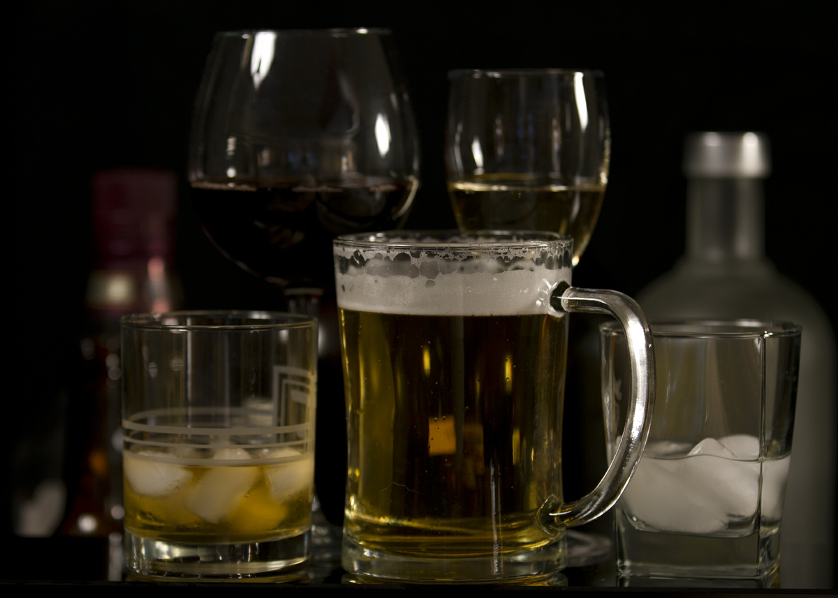 Alcohol - Beer, Wine, & Liquor in Glasses with bottles straight on