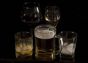 Alcohol - Beer, Wine, & Liquor in Glasses