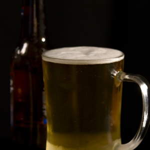 Beer in Frosty Mug with Bottle