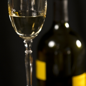 Wine - White in Glass with Bottle straight on