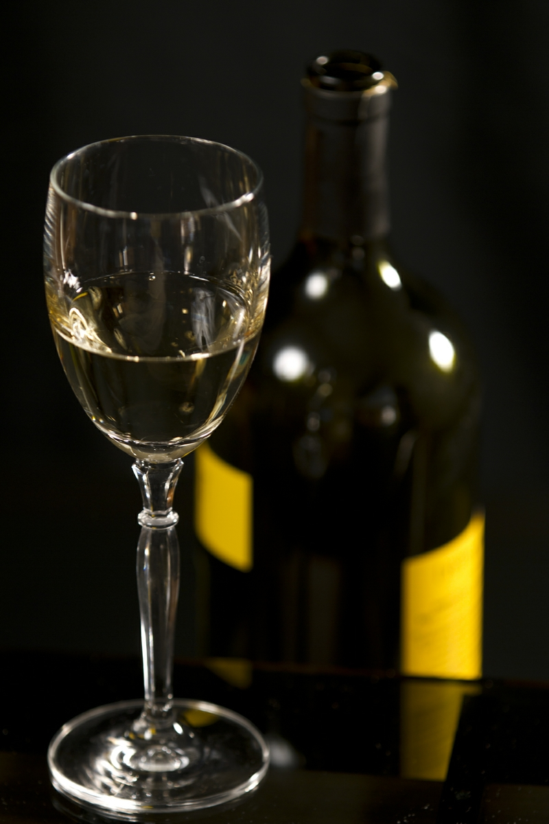 Wine - White in Glass with Bottle