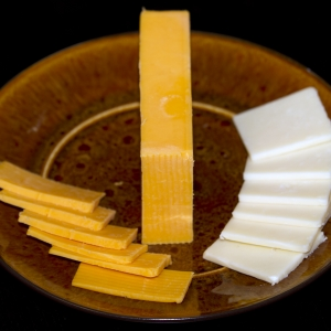 Cheese low-fat cheddar and Colby sliced horizontal