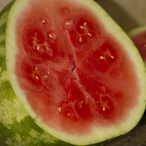 Watermelon Sliced One half Close up