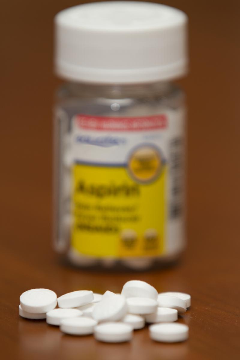 Aspirin Bottle and pills 325 mg Dose