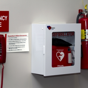 AED - Wall Mounted with emergency phone Horizontal