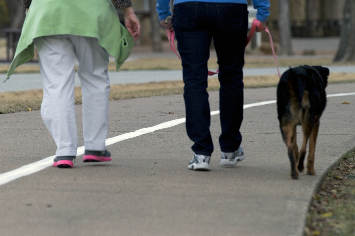 Walking - two women and dog - outside track