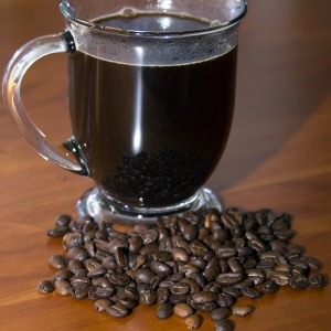 Coffee in Cup with whole beans