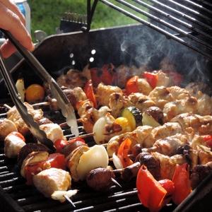 Chicken kabobs on grill
