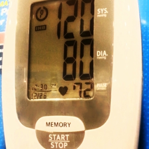 Blood pressure reading of 120 over 80