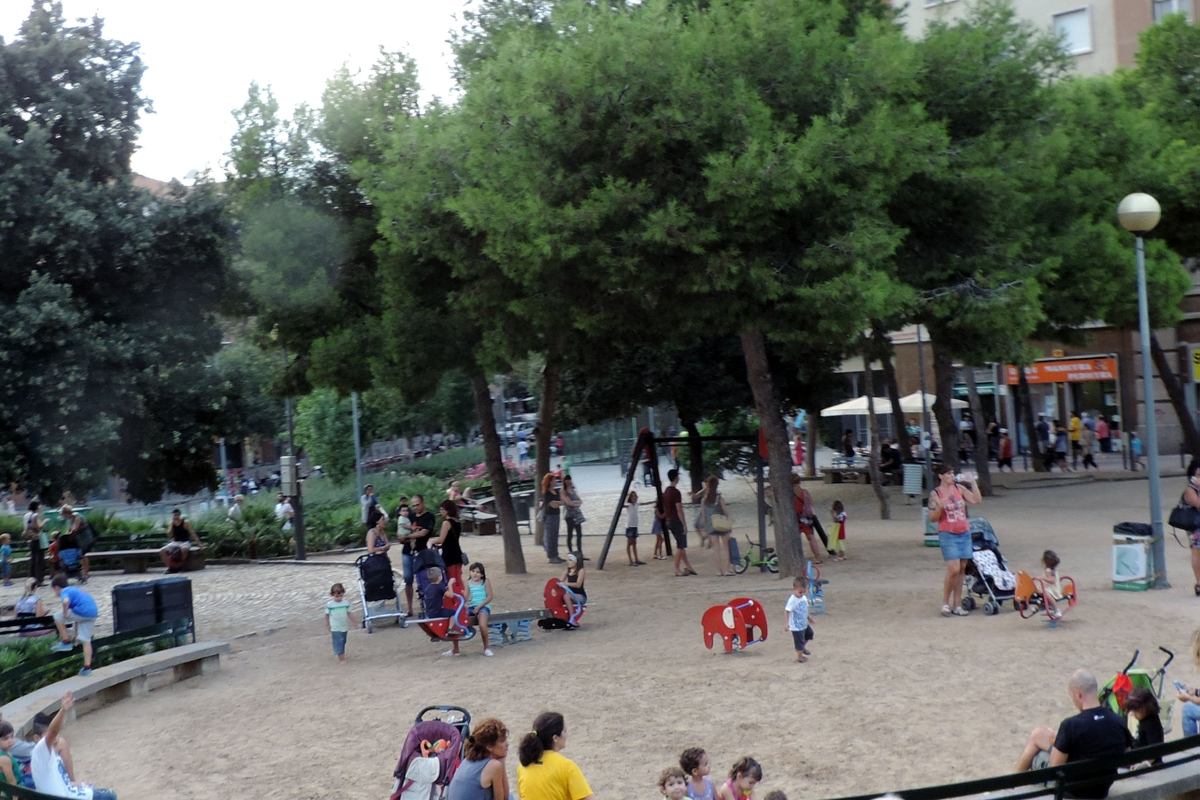 Kids playing in city playground
