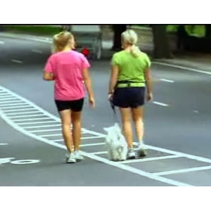 women and dog walking