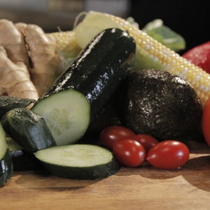 Cucumber and other vegetables