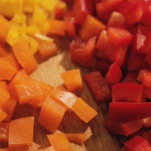 Bell peppers - diced -  close up