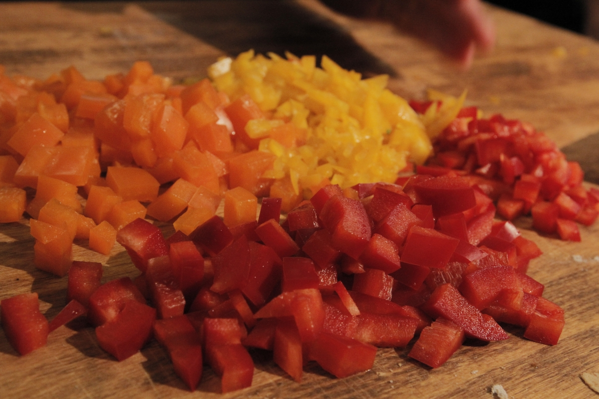 Bell peppers (diced) - red, orange, yellow