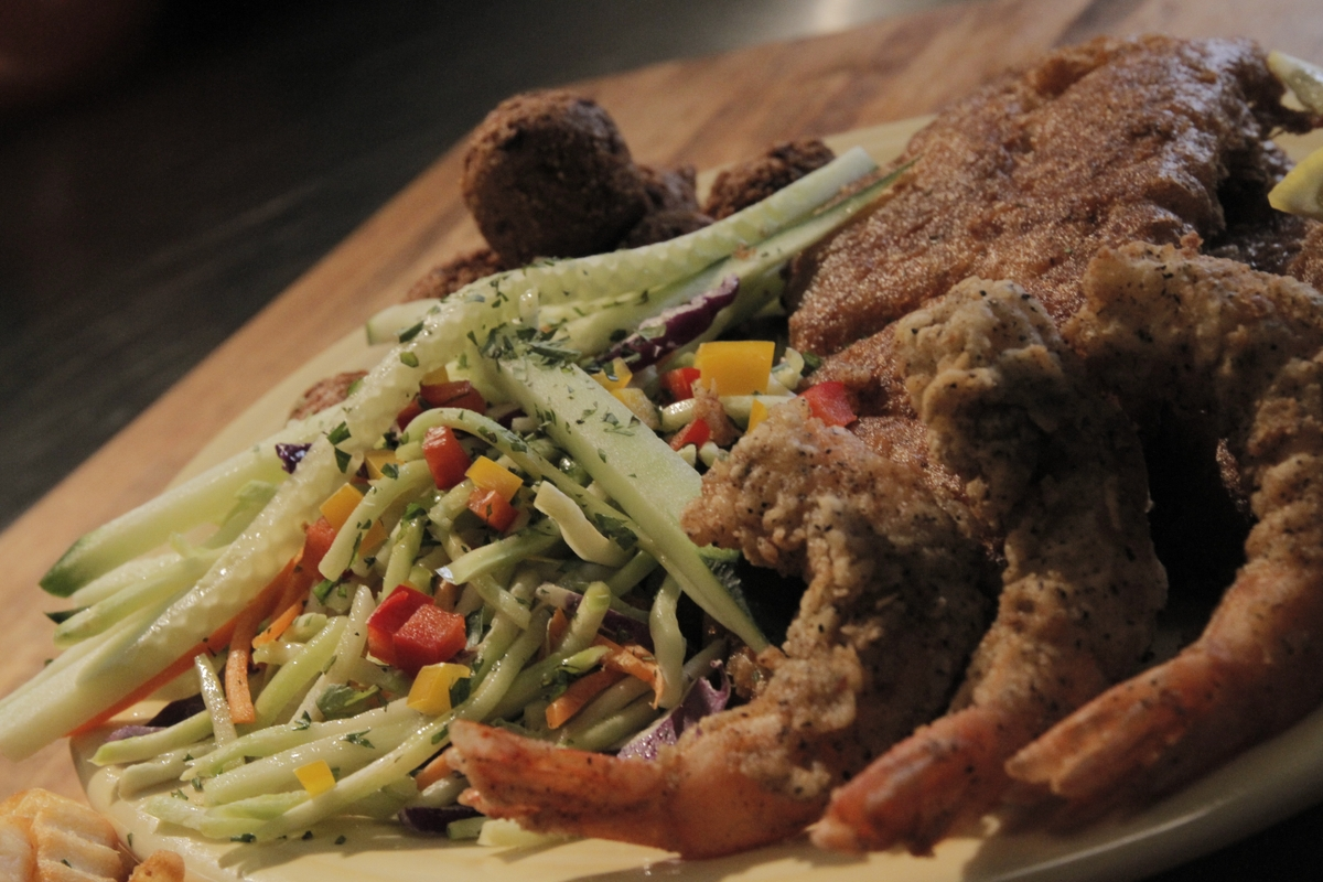 Shrimp (fried) and zucchini slaw