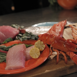 Lobster and other raw seafood