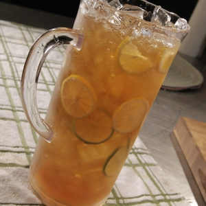 Pitcher of iced tea with lemon 2
