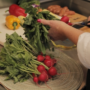 Radishes being cut