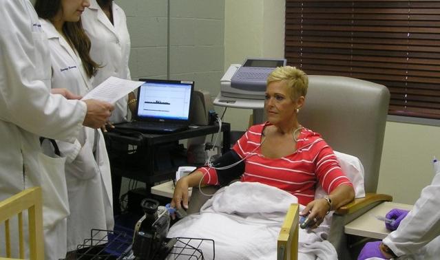 Woman undergoing mental stress test