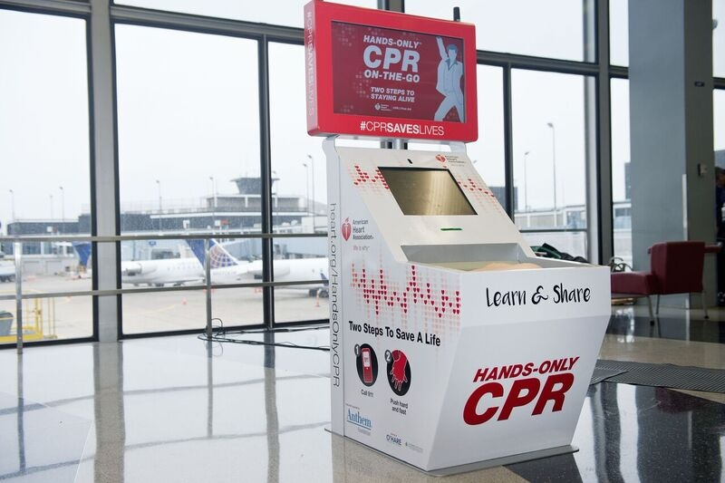 Hands-Only CPR Training Kiosk O'Hare International Airport