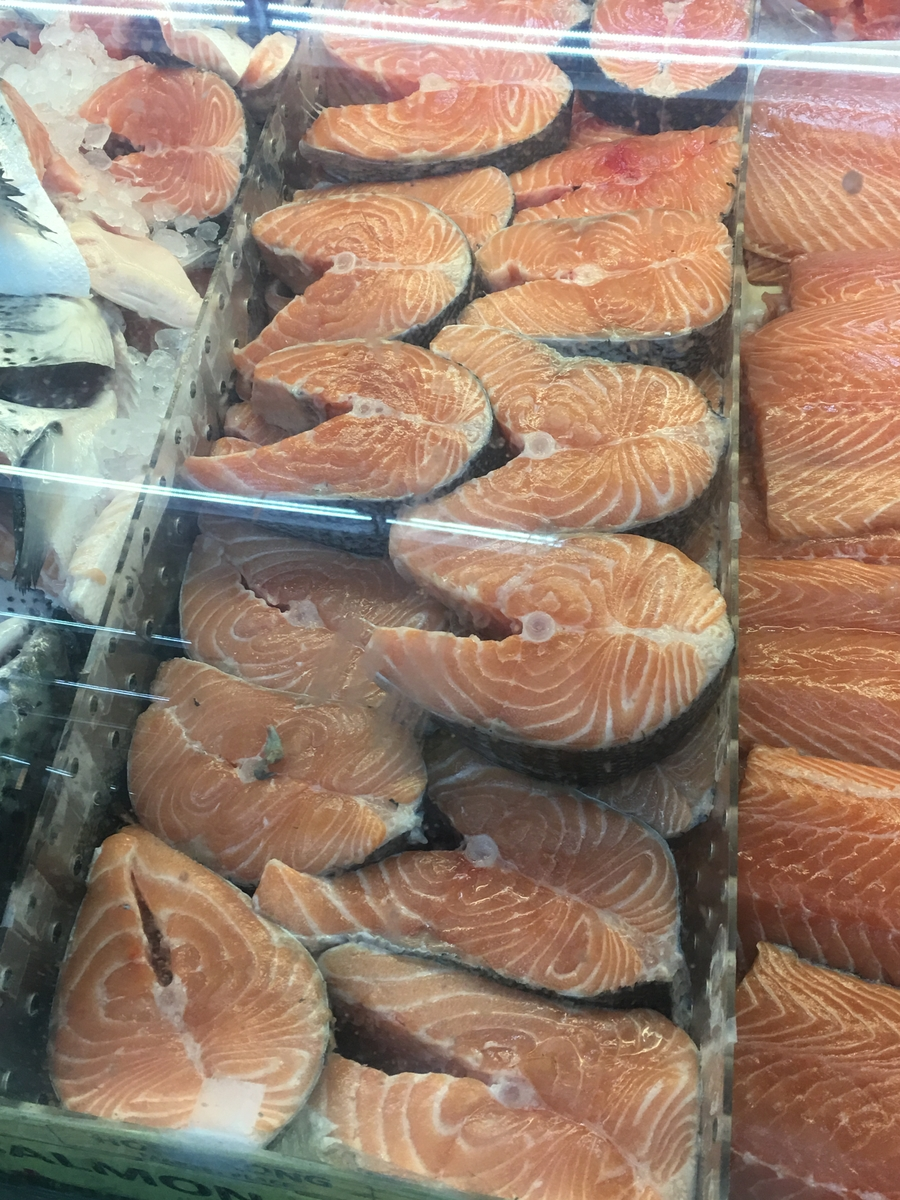 Salmon in market