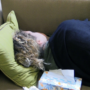 Woman resting with cold-flu