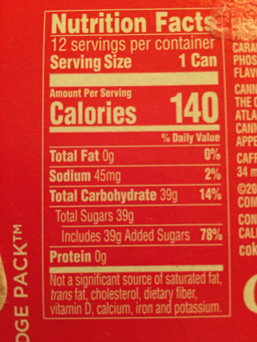 Nutrition label with added sugars
