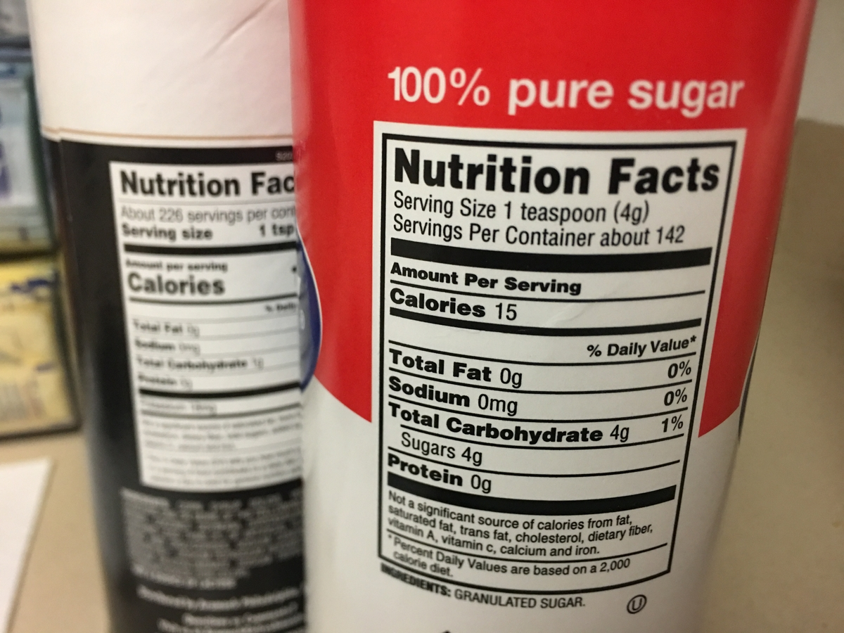 Nutrition label - sugar