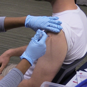 Man getting flu shot