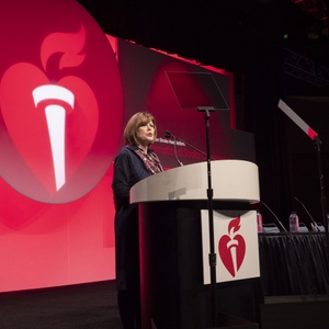 AHA CEO Nancy Brown speaks during Opening Session