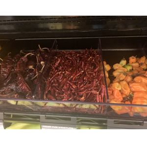 Hot peppers in grocery store