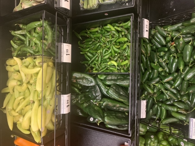 Peppers in grocery store