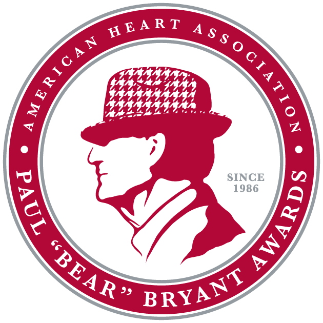 "American Heart Associations Paul ""Bear"" Bryant Heart of a Champion Award logo"