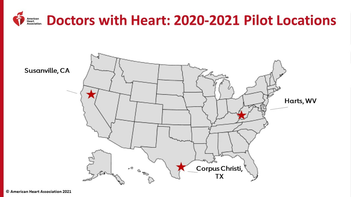 Doctors With Heart 2020-2021 U.S. pilot locations
