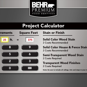 BEHR Exterior Wood Care Center -Project Calculator