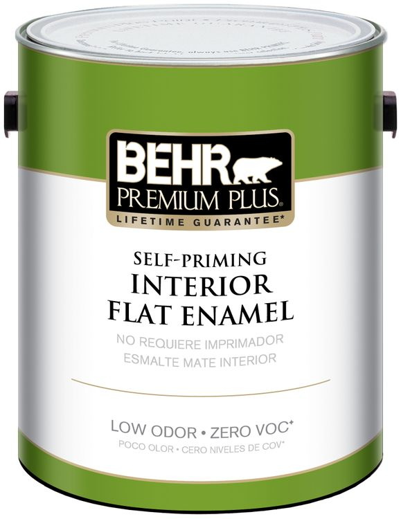 BEHR Premium Plus Self-Priming, Zero VOC and Low Odor Interior Paint - Flat Enamel