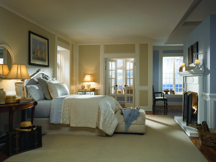 BEHR Paints Serenity in Cream and Blue Bedroom