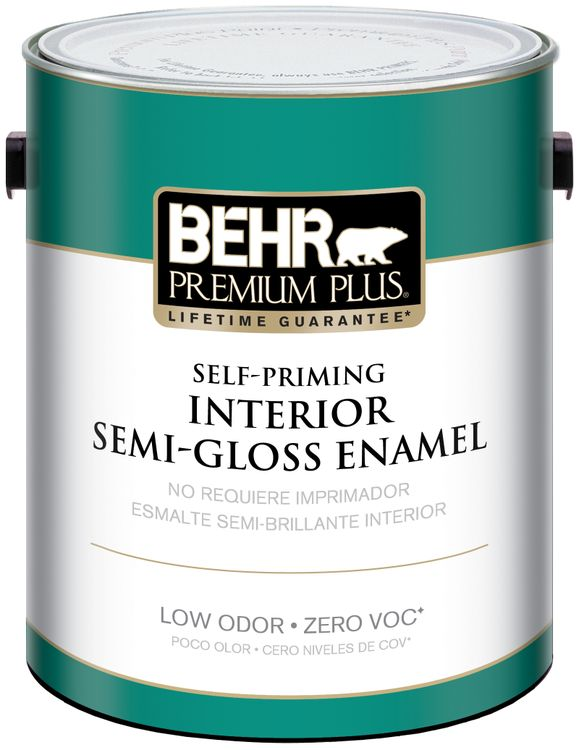 BEHR Premium Plus Self-Priming, Zero VOC and Low Odor Interior Paint Semi-Gloss Enamel