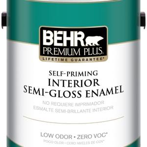 BEHR Premium Plus Self-Priming, Zero VOC and Low Odor Interior Paint Semi-Gloss Enamel