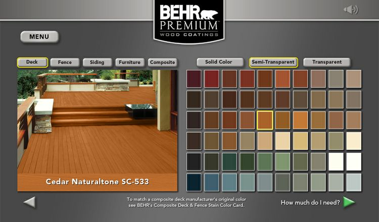 BEHR Exterior Wood Care Center -Color Selection and Visualization