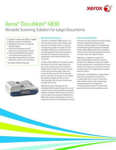 Brochure: Xerox DocuMate 4830