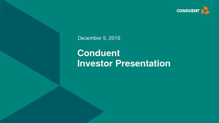 Conduent to Present Business Strategy at Investor Event Today ...