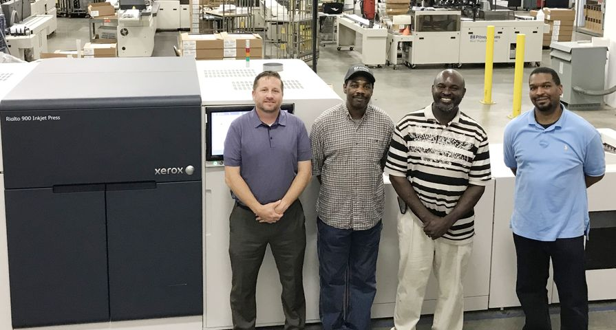 The Arista team with new Xerox Rialto 900 Inkjet Press