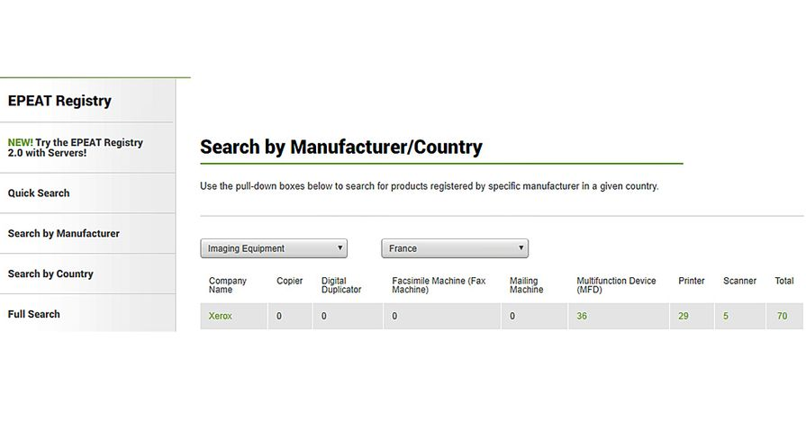 Search function of EPEAT online global registry of sustainable products
