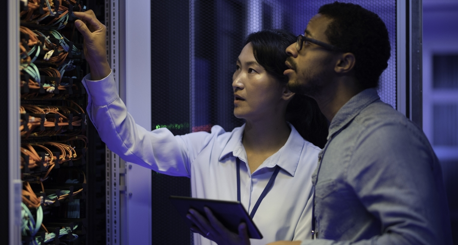 IT engineers in a data center
