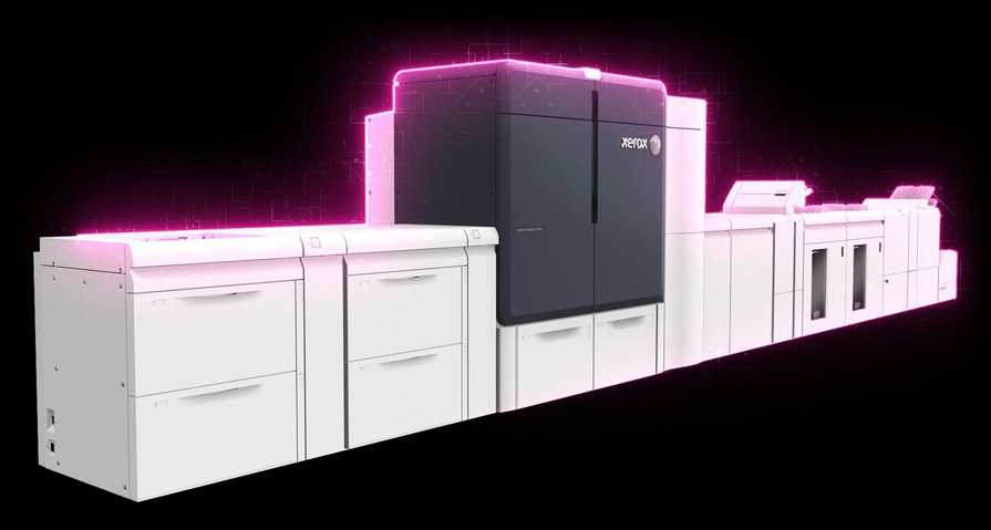 Xerox Iridesse Production Press with fluorescent pink specialty dry ink