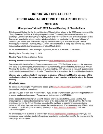 Xerox Notice of Change to Virtual Annual Meeting of Shareholders