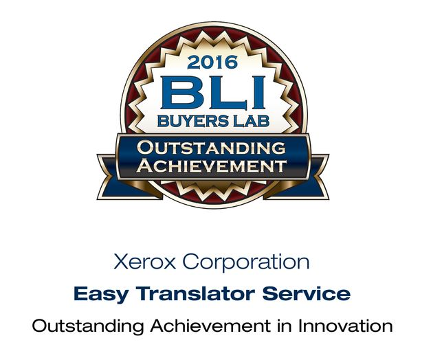 BLI award for Xerox Easy Translator Service